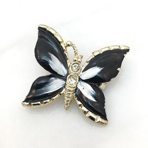 Jewelry - Small Enameled Black Butterfly Brooch